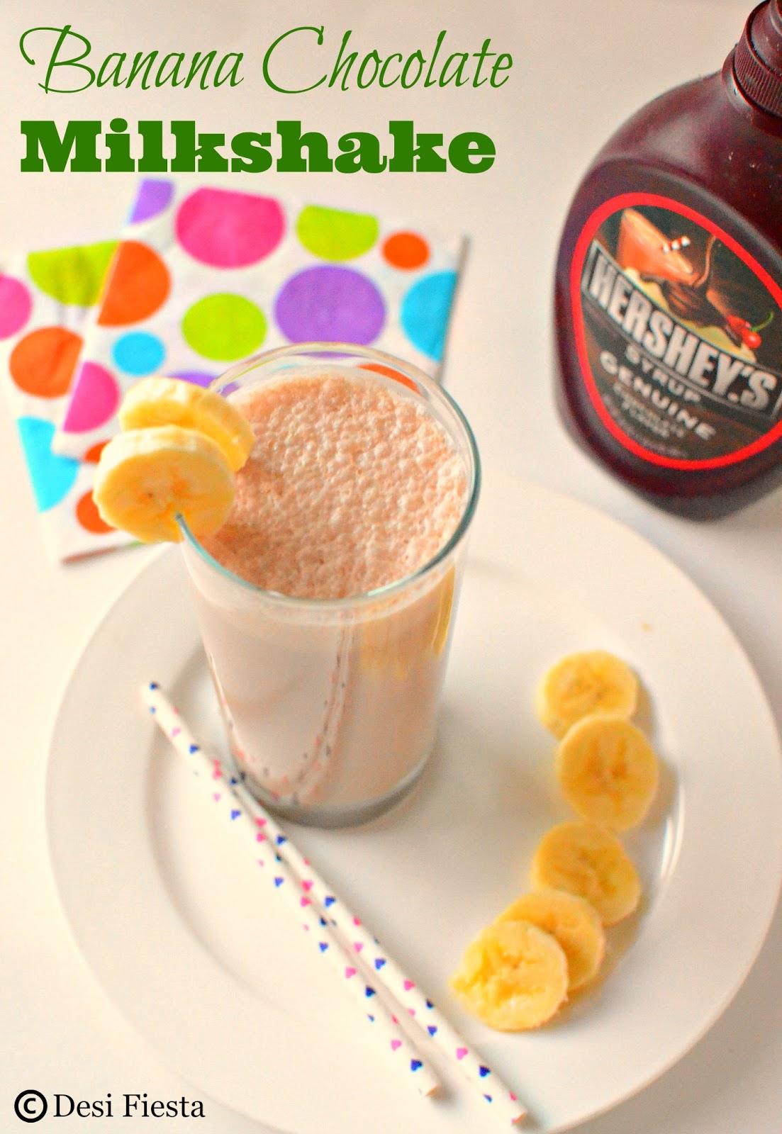 Banana Chocolate Milkshake Recipe Banana Milkshake Desi